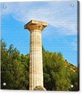 Column At The Temple Of Hera Olympia Greece Acrylic Print