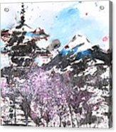Combination No.32 Spring Time Mt.fuji And Pagoda Acrylic Print