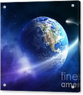 Comet Moving Passing Planet Earth Acrylic Print
