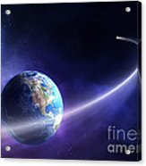 Comet Moving Past Planet Earth Acrylic Print