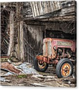 Comfortable Chaos - Old Tractor At Rest - Agricultural Machinary - Old Barn Acrylic Print