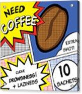 Comic Stripes Of Coffee Drink Acrylic Print
