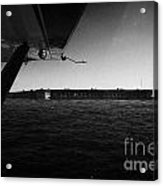 Coming In To Land On The Water In A Seaplane Next To Fort Jefferson Garden Key Dry Tortugas Florida  Acrylic Print by Joe Fox