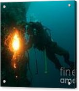 Commercial Diver At Work Acrylic Print