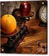 Comparing Apple And Orange Acrylic Print