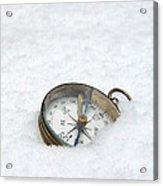 Compass In Snow Acrylic Print