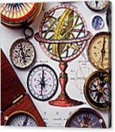 Compasses And Globe Illustration Acrylic Print