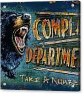Complaint Department Acrylic Print by JQ Licensing