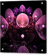 Computer Generated Pink Abstract Bubbles Fractal Flame Art Acrylic Print