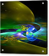 Computer Generated Planet Sphere Abstract Fractal Flame Modern Art Acrylic Print