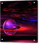 Computer Generated Sphere Red Abstract Fractal Flame Art Acrylic Print