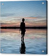 Concept Image Of Young Boy Walking On Water In Sunset Landscape Digital Painting Acrylic Print by Matthew Gibson