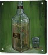 Conceptual Illustration Of Man Drowning In Alcohol Bottle Acrylic Print