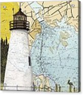 Concord Pt Lighthouse Md Nautical Chart Map Art Cathy Peek Acrylic Print