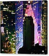 Concrete Canyons Of Manhattan At Night  Acrylic Print