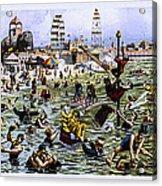 Coney Island Beach And Boardwalk Acrylic Print