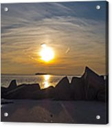 Coney Island Rocky Sunset Acrylic Print