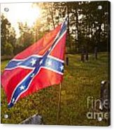 Confederate Flag In An Old Cemetery Acrylic Print