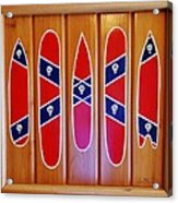 Confederate Flag Surfboards And Skulls Hand Painted By Mark Lemmon Acrylic Print