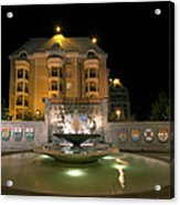 Confederation Fountain In Victoria Bc With Code Of Arms Acrylic Print