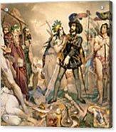 Conquest Of Mexico Hernando Cortes Destroying His Fleet At Vera Cruz Acrylic Print