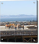 Construction Continues On The Last Few Feet Of The New Oakland Bay Bridge Acrylic Print
