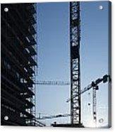 Construction Cranes In Backlit Acrylic Print