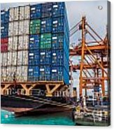 Container Cargo Freight Ship With Working Crane Loading Acrylic Print