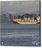 Container Ship In Halong Bay Acrylic Print by Sami Sarkis
