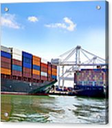 Container Ships Docked At Port Acrylic Print