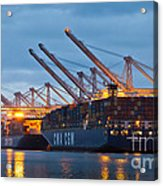 Container Ships Docked In Port Of Oakland Acrylic Print