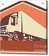 Container Truck And Trailer Flames Retro Acrylic Print