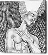 Contemplating Black Male Angel  Acrylic Print