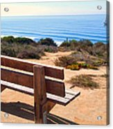 Contemplation Bench At The Oceans Edge Acrylic Print