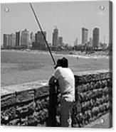 Contemplative Fisherman In Tel Aviv Acrylic Print
