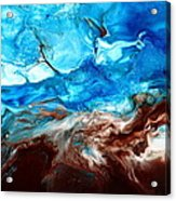 Contemporary Blue Abstract Art Fluid Painting-rapid By Kredart Acrylic Print