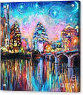 Contemporary Downtown Austin Art Painting Night Skyline Cityscape Painting Texas Acrylic Print