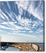 Contrails At Lyme Regis Harbour  Acrylic Print