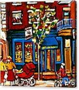 Conversation At St Viateur Bagel Paintings Mehadrin Kosher Deli Authentic Vintage Montreal Cspandau Acrylic Print