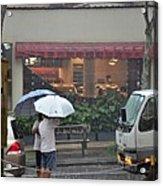 Conversation In The Rain Acrylic Print