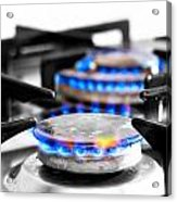 Cooker Gas Hob With Flames Burning Acrylic Print by Fizzy Image