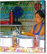 Cooking In The Marketplace In Tachilek-burma Acrylic Print