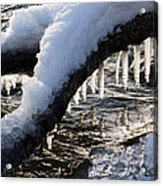 Cool Icicles Reflecting In The Waves  Acrylic Print