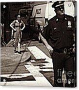 Cop And Girl - Mirror Image - New York City Street Scene Acrylic Print
