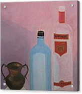 Copper Jug With Glass Bottles Acrylic Print