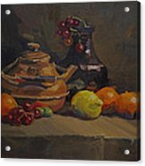 Copper Tea Pot And Fruit Acrylic Print