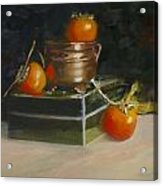 Copper Pot And Persimmons Acrylic Print