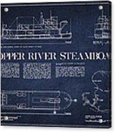 Copper River Steamboats Blueprint Acrylic Print