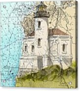 Coquille River Lighthouse Or Nautical Chart Map Art Cathy Peek Acrylic Print