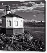 Coquille River Lighthouse Upriver Bw Acrylic Print